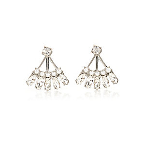 White fan crystal front and back earrings