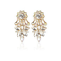 Silver tone crystal front and back earrings
