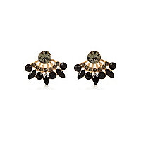 Black glam gem front and back earrings
