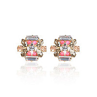 Purple gem stud earrings