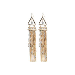 Gold tone dangly gem earrings