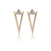 Gold tone encrusted triangle stud earrings