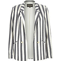 Cream and blue stripe tailored blazer