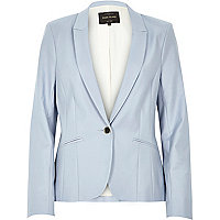 Light blue long sleeve fitted tailored blazer