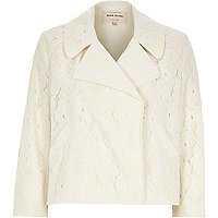 Cream lace cropped jacket