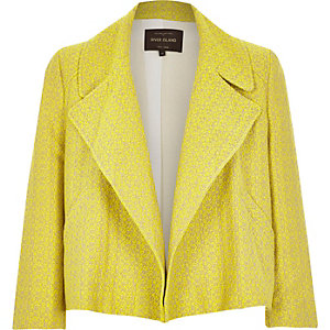 Yellow tweed cropped tailored jacket