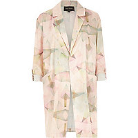 Pink print crepe relaxed duster jacket