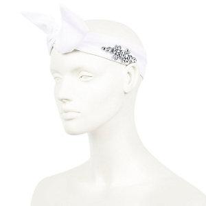 White embellished hair wrap