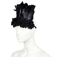Black feather festival hairband