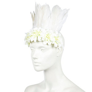 White feather festival hairband