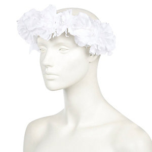 White flower hair garland