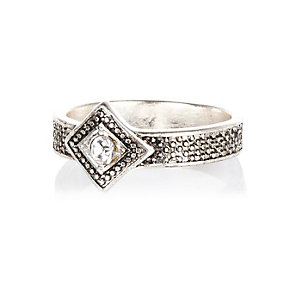 Silver tone square diamante ring