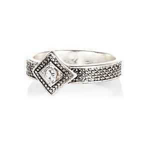 Silver tone square diamante ring