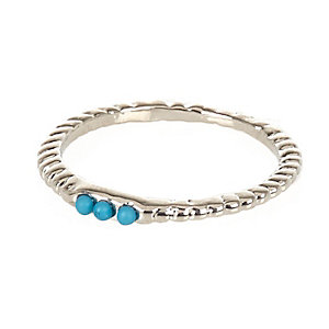 Silver tone turquoise ring