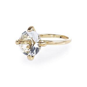 Gold tone large gem ring