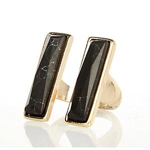 Gold tone semi precious stone ring