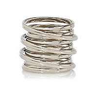 Silver tone spiral ring