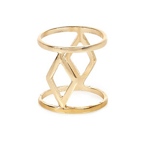 Gold tone triangle cut out ring