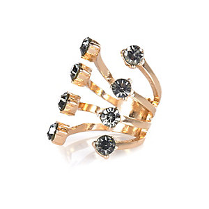 Gold tone open grey gem ring