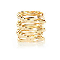 Gold tone spiral ring