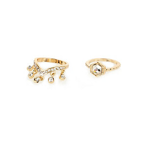 Gold tone dangle ring pack