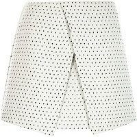 Cream jacquard spot wrap skirt