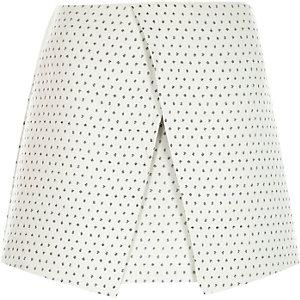 Cream jacquard spot wrap skirt