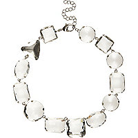 Silver tone chunky gem short necklace