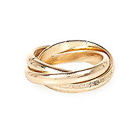 Gold tone twisted finger tip ring