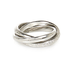 Silver tone twisted midi ring