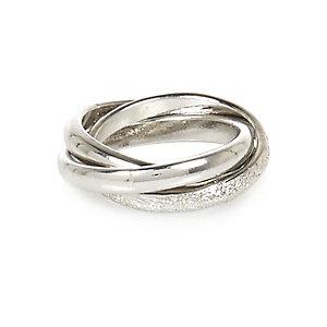 Silver tone twisted midi ring