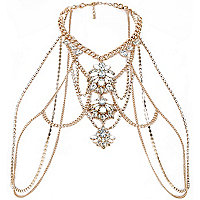 Gold tone diamante body harness