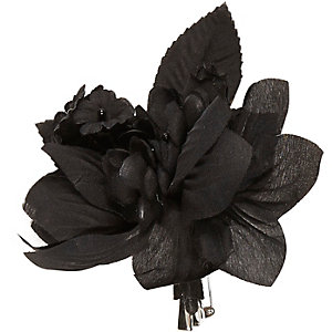 Black flower hair clip and brooch