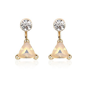Gold tone triangle front and back earrings