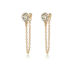 Gold tone gem cluster front and back earrings
