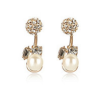 Cream pearl and gem front and back earrings