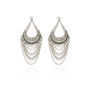 Silver tone draped dangle chain earrings