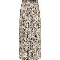 Brown animal print maxi skirt