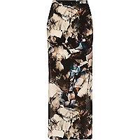 Purple print woven maxi skirt