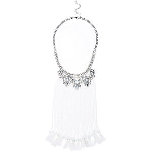 White statement beaded tassel necklace
