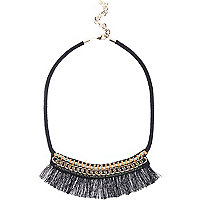 Black chain tassel boho statement necklace