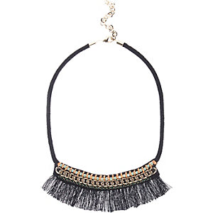 Black chain tassel boho statement necklace
