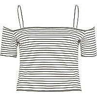 Cream stripe bardot top