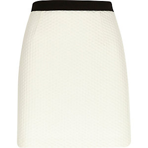 White textured A-line skirt