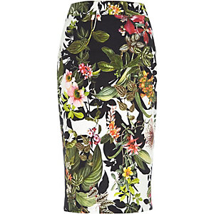 Green tropical print woven pencil skirt