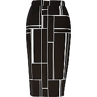 Black woven abstract print pencil skirt