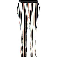 Orange stripe cigarette trousers