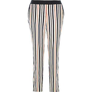 Orange stripe cigarette pants