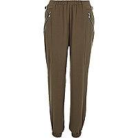 Khaki zip side joggers
