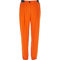Orange soft contrast trim joggers
